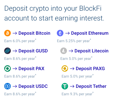 Deposit crypto into your BlockFi account to start earning interest