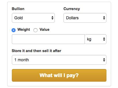 BullionVault Cost Calculator
